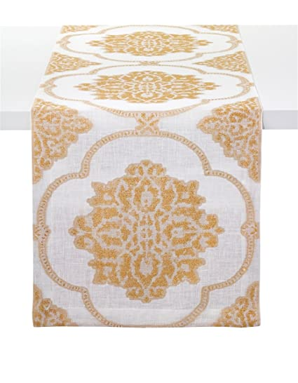 Amazoncom Bodrum Corte Linen Blend Gold Table Runner 90 229cm
