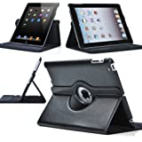 San Pareil 360 Degree Rotating Magnetic Leather Case Cover Stand For Apple iPad 2/3/4 (Black)