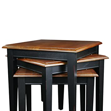Elegant Leick Stacking Table Set, Black And Medium Oak