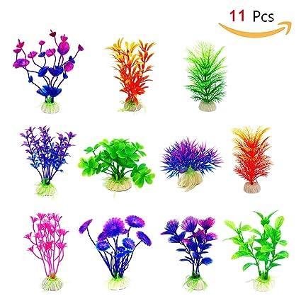 Merveilleux Cousduobe Artificial Aquatic Plants 11 Pcs Small Aquarium Plants Artificial  Fish Tank Decorations,Used For