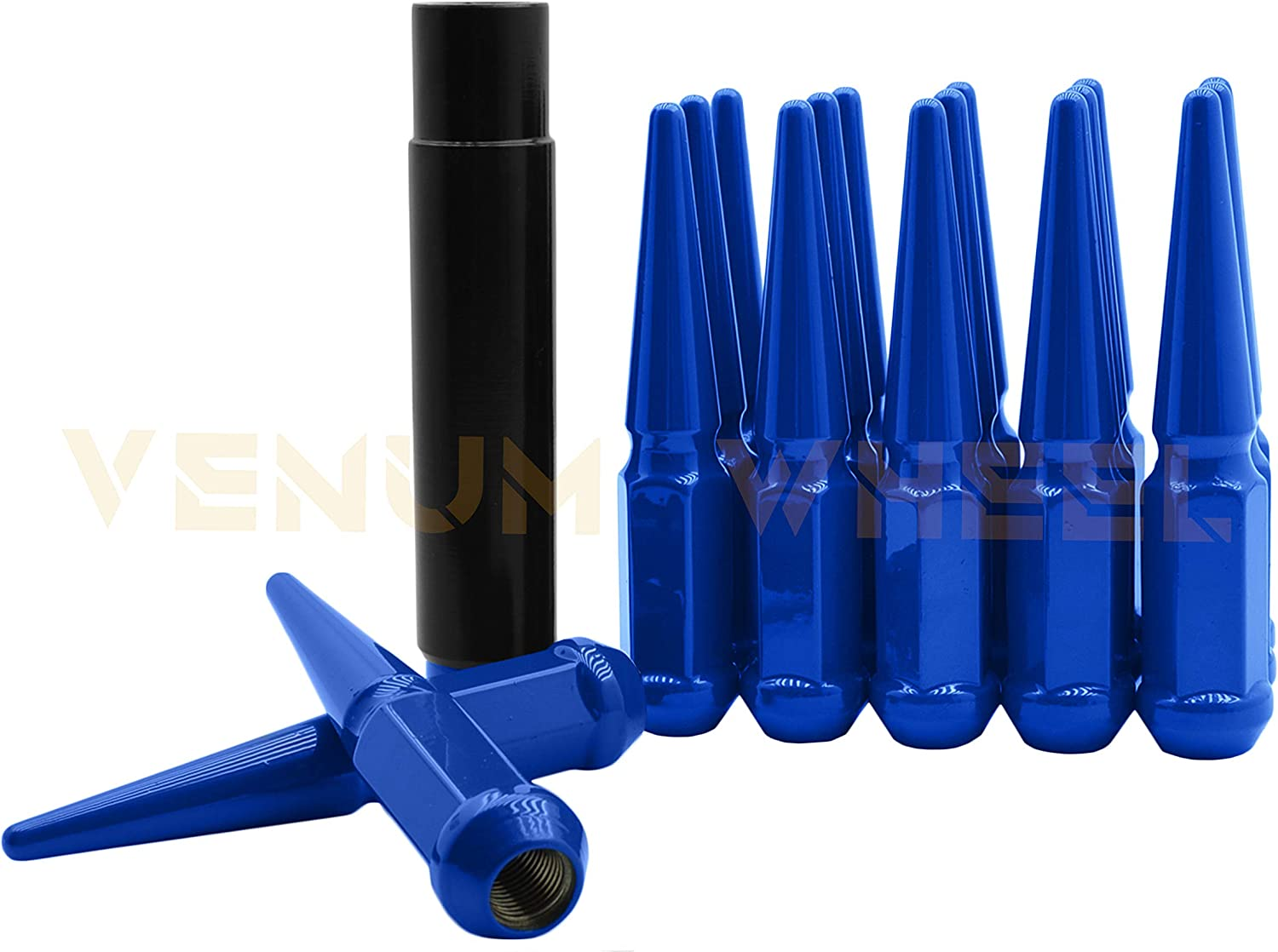Key Venum wheel accessories 20 Pc Blue New Spike Lug Nuts 4.5 Tall Solid Spiked M14x1.5 Works with Dodge Durango Challenger Charger Magnum 2005-2019 /& 2011 Ram Models