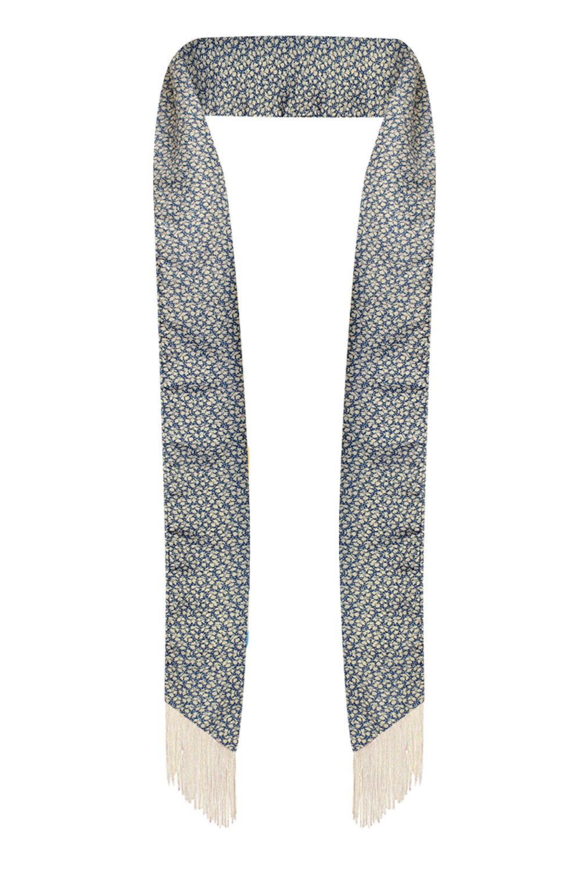 LL Womens Chic Long Skinny Thin Scarf Tie Sash Fringe Light Weight Many Styles (Blue Tiny Flower)