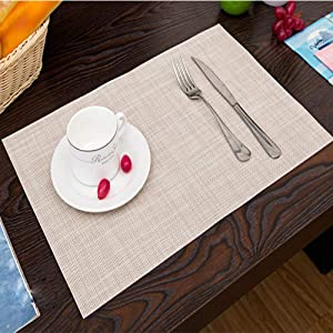 Princess home Place Mats Set of 4 Heat-Resistant PVC Table Mats Washable Table Decor for Christmas, Thanks Giving, Dinner Parties and Everyday Use (Beige)