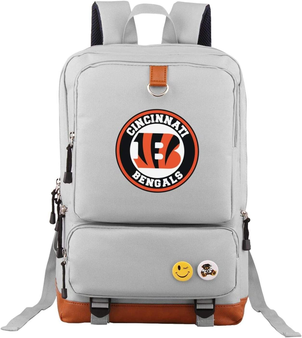 G-III Sports Cincinnati Bengals Backpack for Middle High School College Student Oxford School Bag Laptop Rucksack Gray