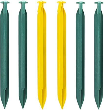 """4-Pack Coghlan/'s ABS Tent Pegs 9/"""" 6-Count Yellow Plastic Non-Slip Tent Stakes"""