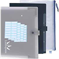 Plastic File Folder | Accordion Folder Tabbed Paper Organizer Perfect File Folders with 5 Pockets Expanding Organizer Document File Filter by Lizz Express