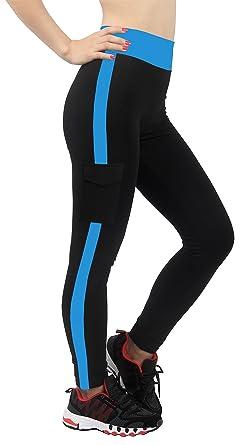 4How® Leggings Sport Femme Elastique Pantalons Jogging,Noir Bleu foncé, Taille M 26cccc1d5a24