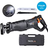 """Reciprocating Saw, Tacklife 7Amp 2800rpm Saw with Rotatable Handle, 1-1/8"""" Stroke Length, 2 Blades, 2 LED, Variable Speed Trigger, Tool-Less Blade Change - RPRS01A"""