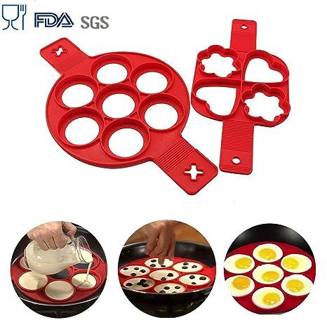 BUWANT 2 moldes de Silicona para Hornear DIY Pancake Moldes