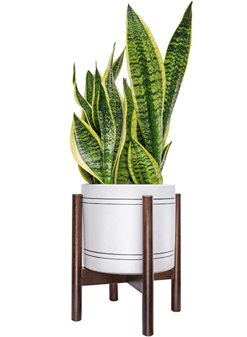 23a06c529c32 TIMEYARD Mid Century Plant Stand - Best Fits 8in Planter, Wood Indoor  Flower Pot Holder