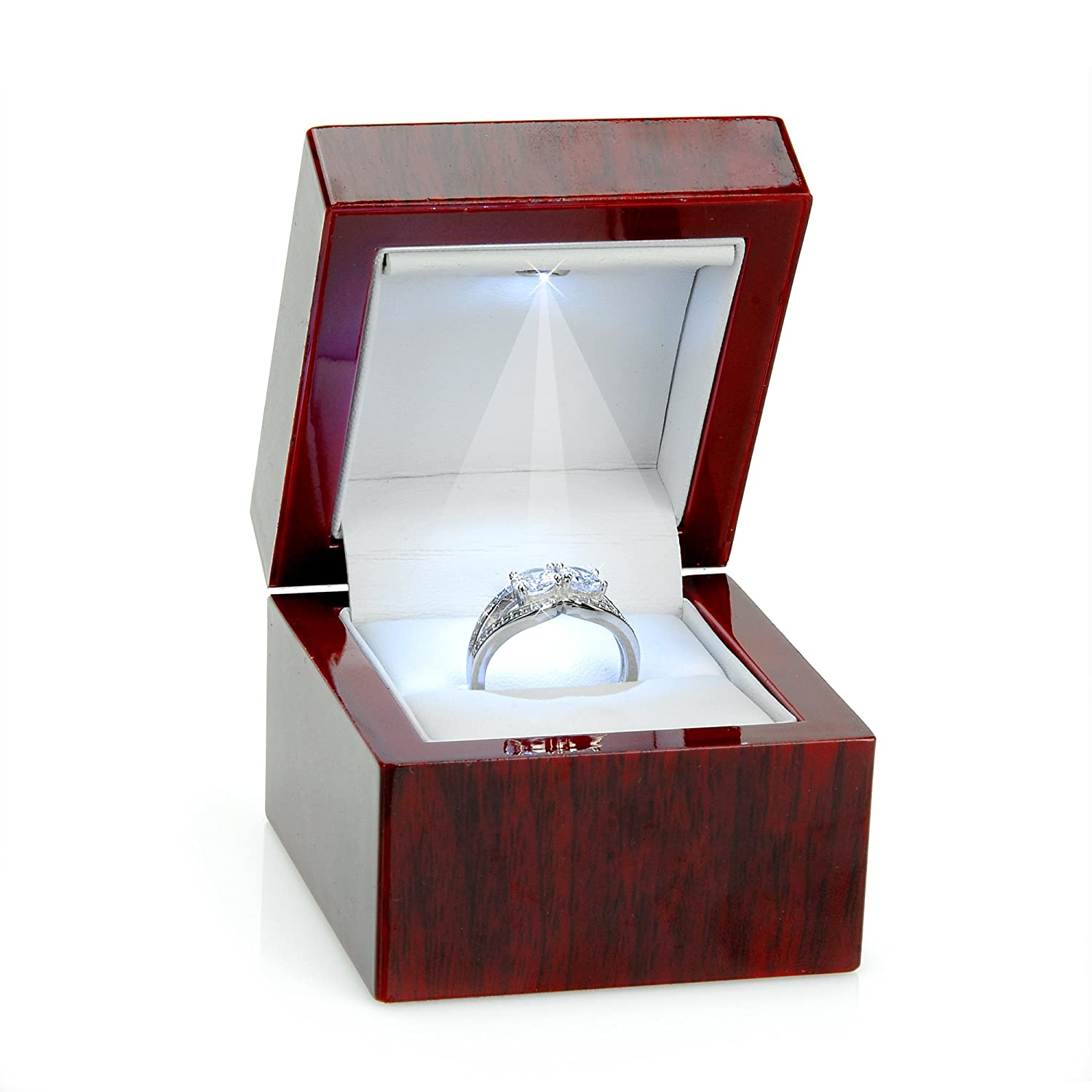 Cherry Wood Style Plastic Ring Box With Light (White Interior) PLS-LG