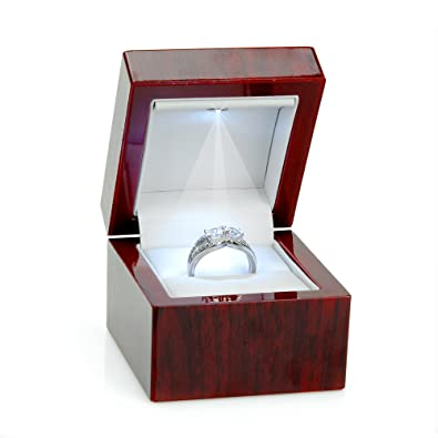 Cherry Wood Style Plastic Ring Box With Light White Interior
