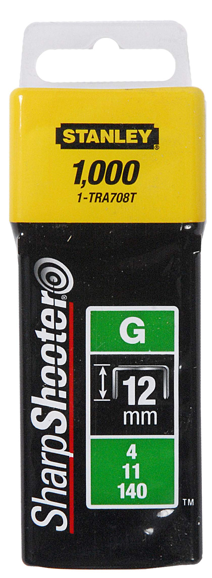 Stanley TRA708T Sharpshooter 1/2-Inch Leg Length Staples, Steel (1000 Count)
