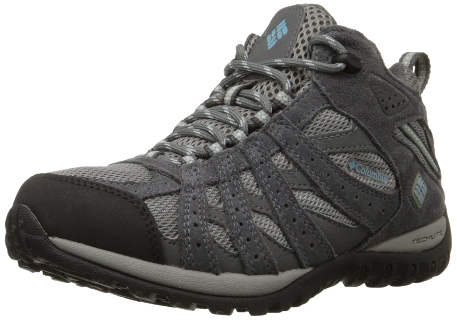 Light Grey, Sky bluee Columbia Women's Redmond Mid Waterproof Hiking Boot, Breathable, High-Traction Grip