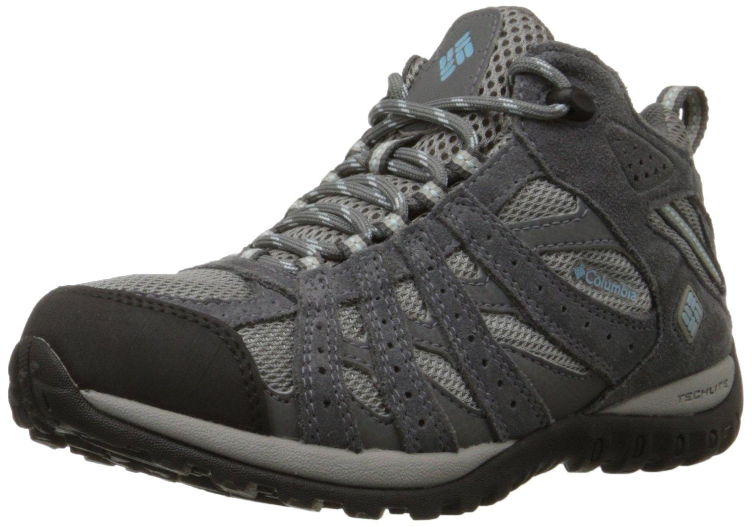 Columbia Women's Redmond Mid Waterproof Hiking Boot, Light Grey, Sky Blue, 12 B US