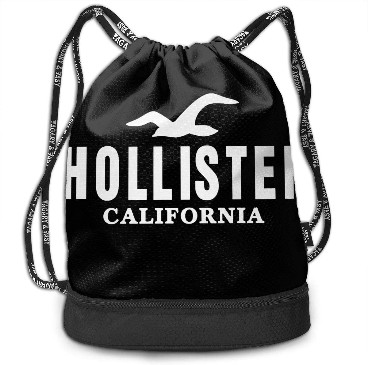 Travel Suitable for Sports Black Drawstring Cinch Bag Gym Tote Bag for Women Beach