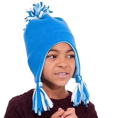 Rjm Childs Boys Fleece Ski Trapper Hat With Tassels   Pom Pom Bobble Blue  Ages 3 02d464129b35