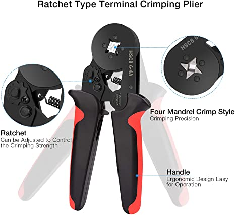 Wire Crimping Pliers Ferrule Crimp 0.25-6mm² Adjustable Ratchet 800x Terminals