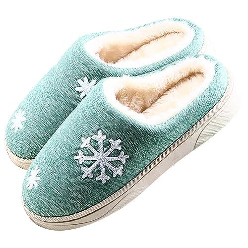 JACKSHIBO Unisex Plüsch Baumwolle Pantoffeln Weiche Leicht Wärmehausschuhe Rutschfeste Slippers für Damen,Grün,EU 36/EU 37