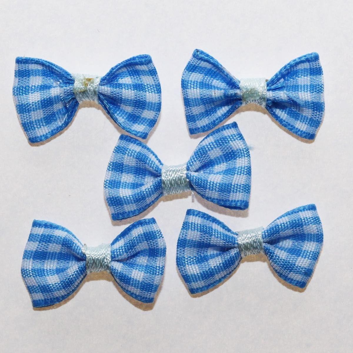 Bleu Pour Scrapbooking Couture D/éco 20 x Noeuds en Ruban Vichy Carreaux