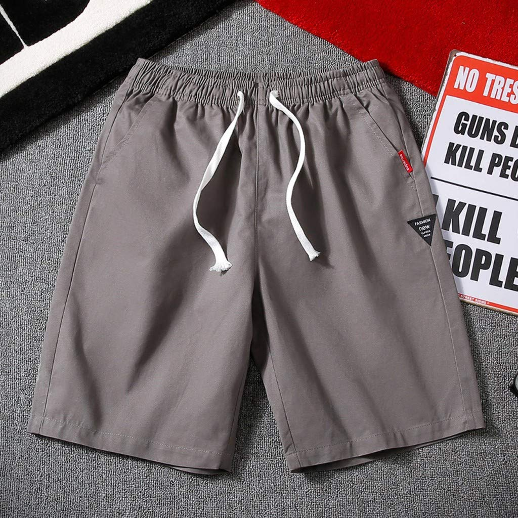 Sports Pants Gym Cargo Beach Shorts Mens Summer New Simple Fashion Belt Shorts Fashionable Pure Color Shorts