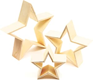 Unfinished Wood Framed Stars for Home Decor DIY Painting, Arts & Crafts, 3 Sizes (3 Pack)