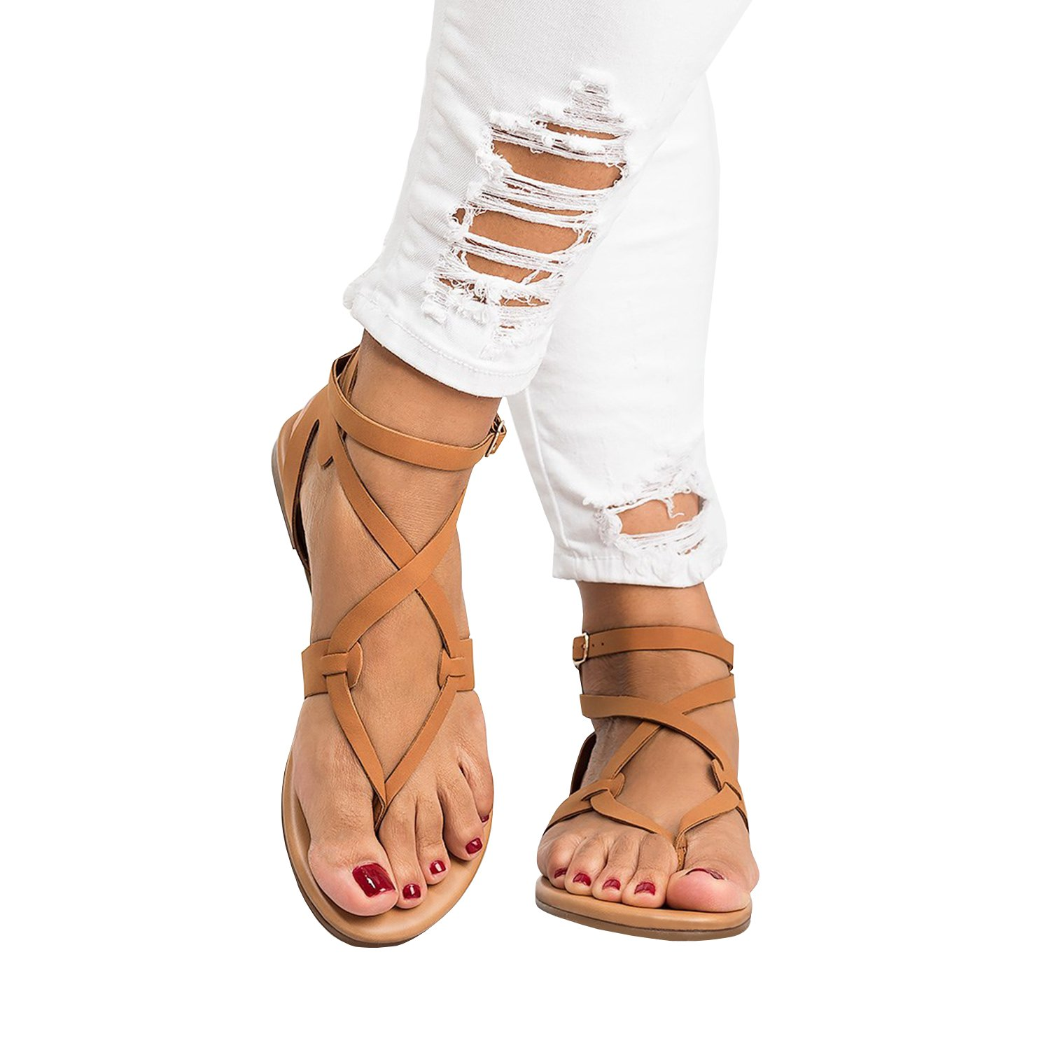 39be4e6d3200 Shelers Womens Sandals Flat Ankle Buckle Gladiator Thong Flip Flop Casual  Summer Shoes  Amazon.co.uk  Shoes   Bags