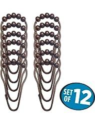 mDesign Steel Roller Shower Curtain Rings/Hooks - Set of 12, Bronze