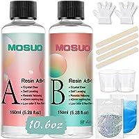 Epoxy Hars Crystal Clear Hars Kit 300ml/11oz - MOSUO 2 Deel Art Hars Clear Coating en Gieten Hars met het meten van Cups…