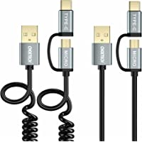 CHOETECH 2-in-1 Micro USB Type C Cable (2-Pack, Straight & Coiled), 4ft/1.2m Charge & Sync Cable for Galaxy S9/ S9 Plus, Note 8, S8/ S8 Plus, M20/M10, Redmi 6A and Other Type C & Micro USB Devices