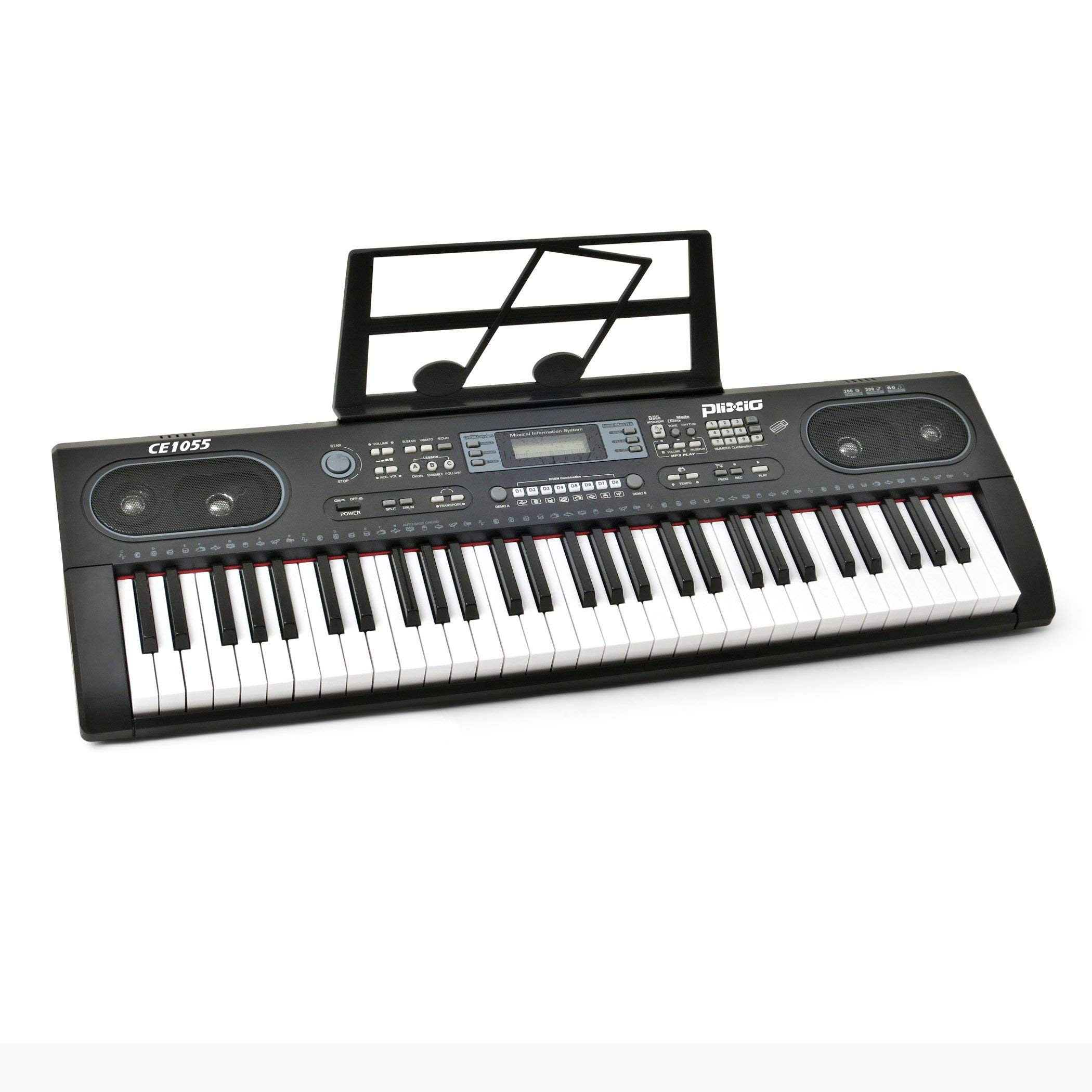 Plixio 61 Key Electronic Keyboard Piano with LED Display, Stereo & USB Input- Portable Music Keyboard (Renewed)