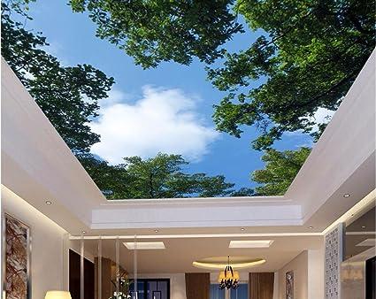 Lwcx Custom Photo Ceiling Murals 3d Wallpaper Home Decor Painting Leaves Of Blue Sky Picture 3d Murals Wallpaper Living Room 280x200cm Amazon Com