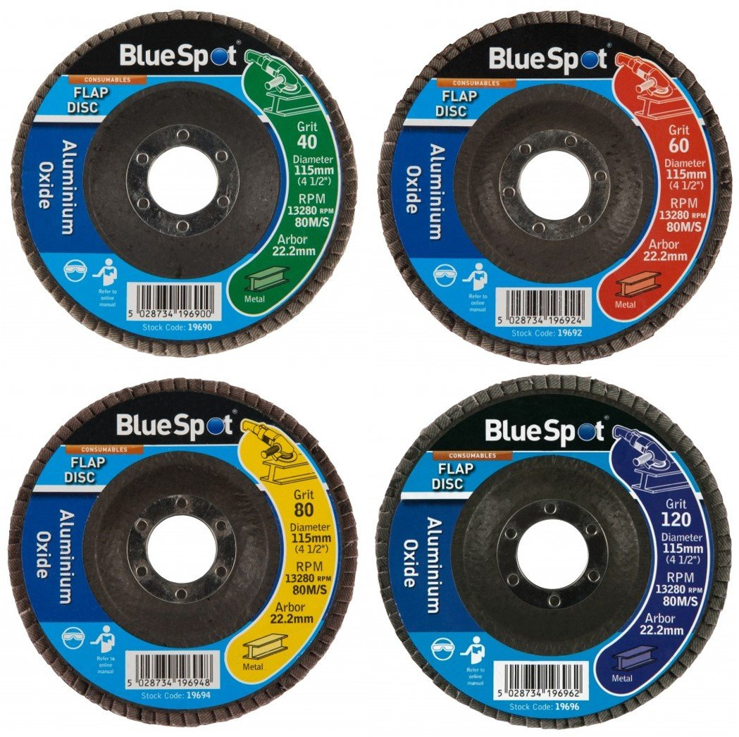 115mm Aluminium Oxide Flap Disc Angle Grinder Grinding Sanding 40 60 80 120 Grit BlueSpot (4, Assorted Pack of 4)