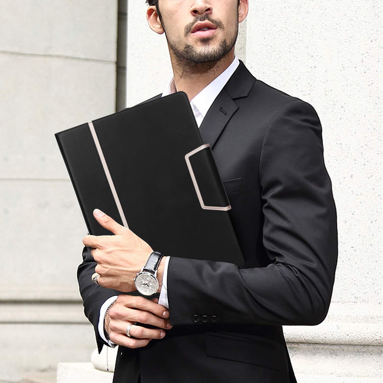 per uomo//donna X-Black organizer per documenti da lavoro porta biglietti da visita Cartellina portadocumenti per conferenze con portablocco in formato lettera//A4 Toplive Padfolio