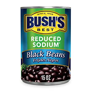 BUSH'S BEST Canned Reduced Sodium Black Beans (Pack of 12), Source of Plant Based Protein and Fiber, Low Fat, Gluten Free, 15 oz