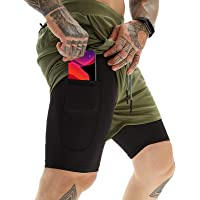 OEBLD Mens Athletic Shorts 2-in-1 Gym Workout Running 7'' Shorts with Towel Loop