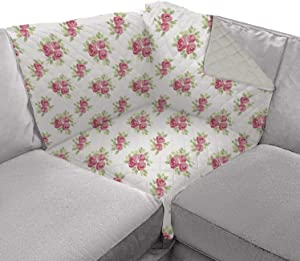 Sofa Shield Original Patent Pending Sofa Corner Sectional Slipcover, Many Colors, 30x30 Inch, Reversible Washable Furniture Protector with Straps, Sectional Slip Cover for Pets, Shabby Rose Linen