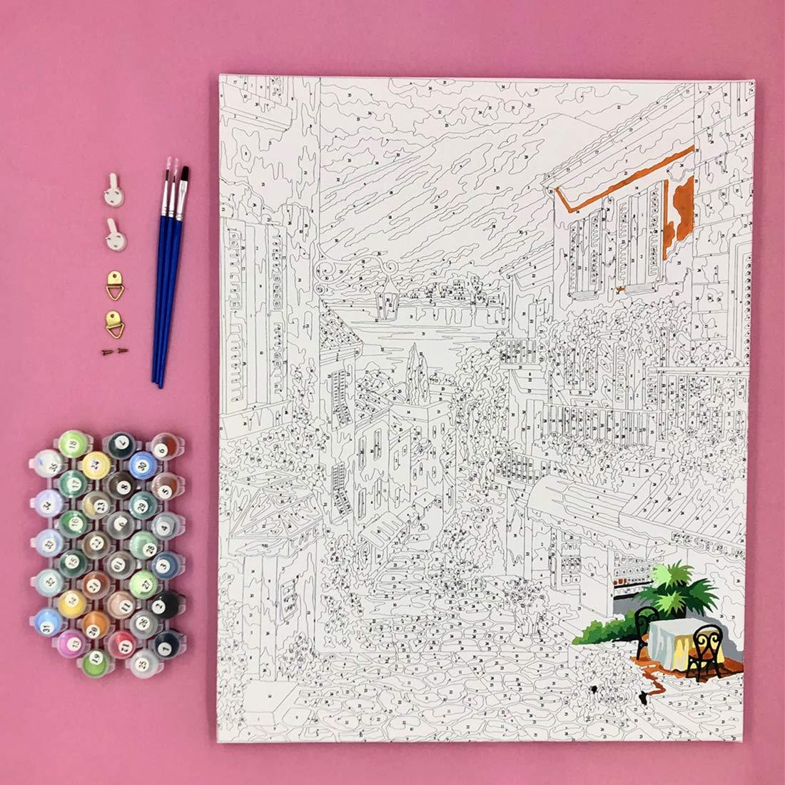 Malen Nach Zahlen Erwachsene DIY /Ölfarbe von Number Kit Weihnachten Dekor Dekorationen Geschenke Kinder Anf/änger Frameless Wasserfallbaum 40x50cm