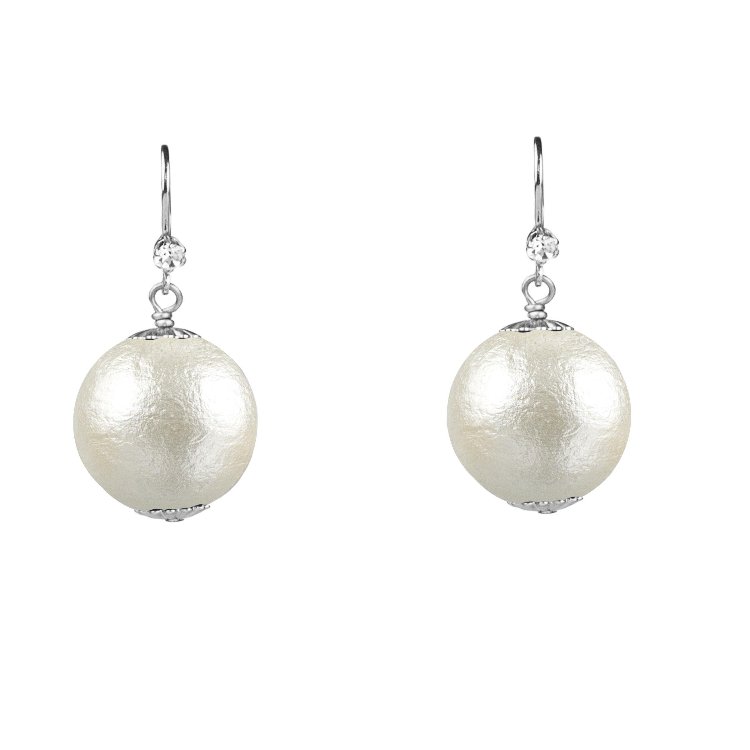 John Wind, 20mm Cotton Pearl Earrings, Silver