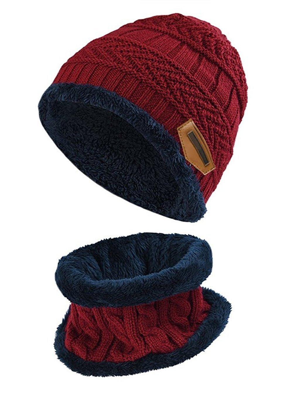 TMEOG 2 PCS Cute Boys Girls Winter Knitted Fleece Hemming Kids Beanies Hats + Circle Scarf Set 6-14 Years Old