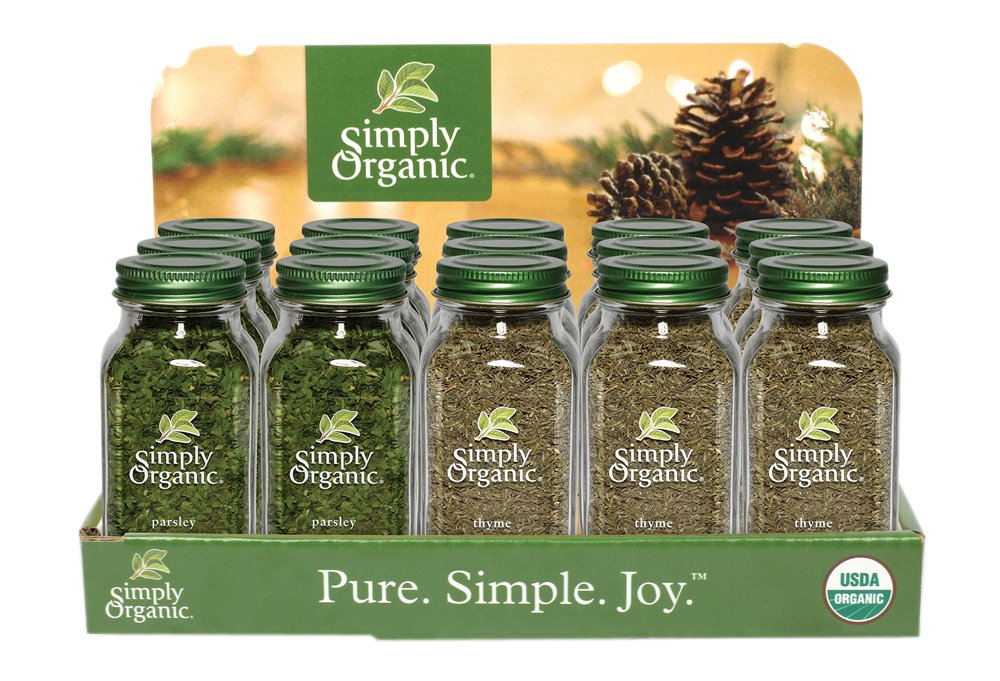 Simply Organic Food Flavor Savory Holiday Countertop Display 15 Count.
