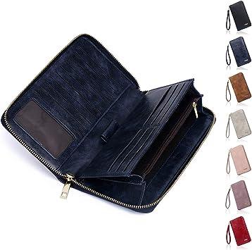 Red Women PU Leather RFID Blocking Wallet Large Capacity 15 Card Slots Holder