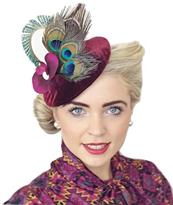 quot IRIS quot  WOMENS LADIES RED WINE BURGANDY PLUM VELVET VINTAGE STYLE  HANDMADE HAT FASCINATOR 45ceee95072