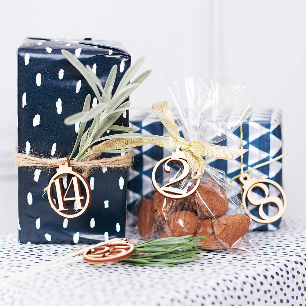 lightclub 1-25 Vintage Wooden Christmas Countdown Advent Calendar Number DIY Gift Tags