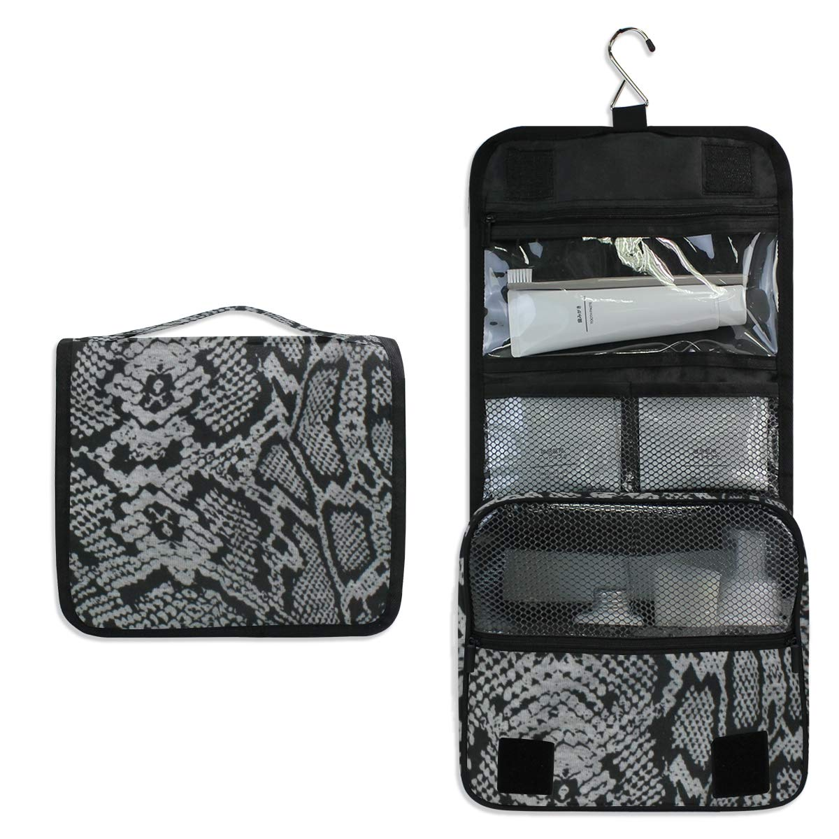 Titlesign Travel Hanging Toiletry Bag Snakeskin Grey Portable Cosmetic Make up Bag case Organizer Wash Gargle Bag Waterproof with Hook for Cosmetics and Toilet Accessories