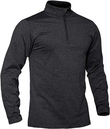 informal Camiseta de manga larga para hombre con cremallera de 1//4 transpirable