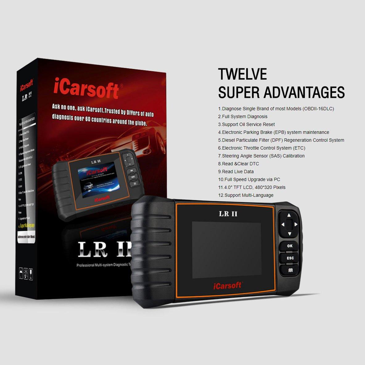 iCarsoft LR II Compatible for LandRover/Jaguar OBD II Scanner Tool Multi  Systems ABS SRS Oil Reset DPF
