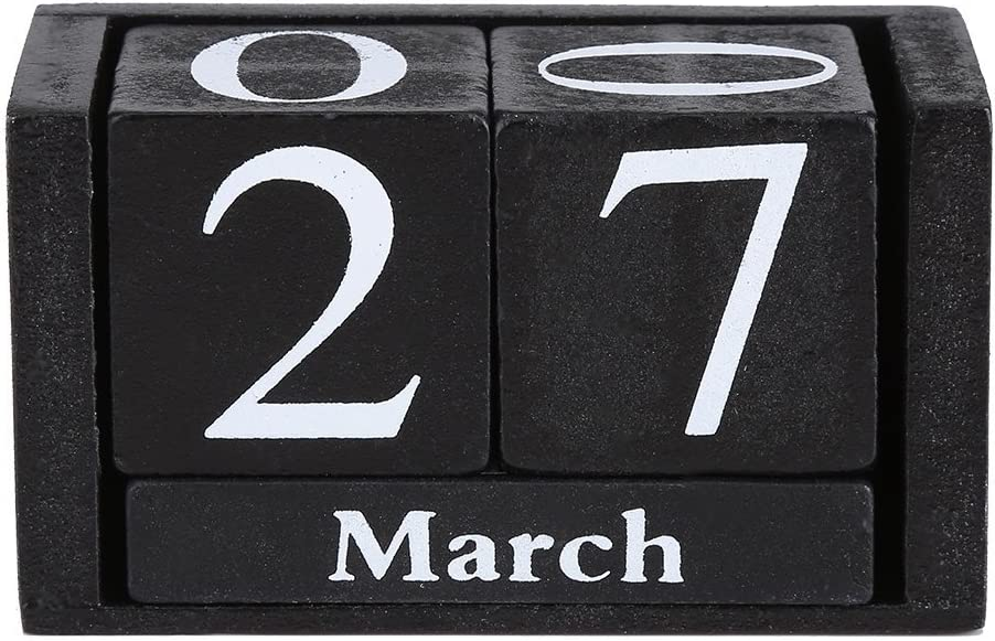 Vpang Vintage Wood Perpetual Calendar Shabby Chic Blocks Desktop Calendar Rustic Wooden Cubes Calendar Home Office Decoration (Black)
