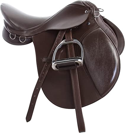 AceRugs New 15 16 17 18 Premium Brown Leather Show Jumping Eventing English Riding Horse Saddle TACK Stirrups Leathers All Purpose
