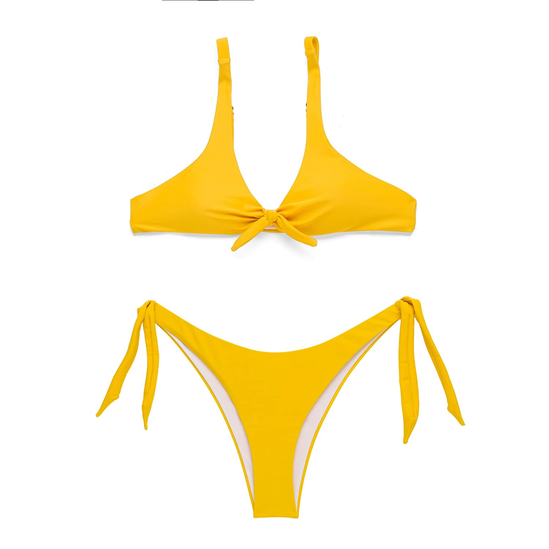 cb49859396 X-HERR Women Tie Knot Front Push up Padded High Cut Bikini Sets Ladies  Swimwear  Amazon.co.uk  Clothing